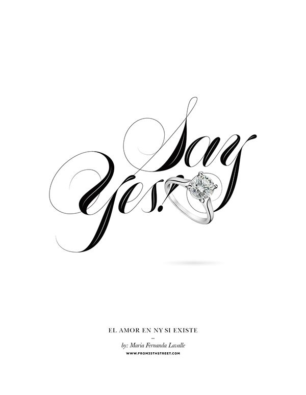 Rings of New York is a series of love stories by journalist Maria Fernanda Lavalle, where she narrates how love is found and born in  New York City. As the title suggests, every story ends with a marriage proposal, so I designed this series of script lettering pieces to convey  the romance behind this narratives.