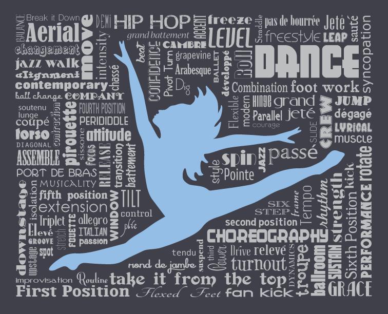 dancer contemporary jazz ballet word art typography home decor