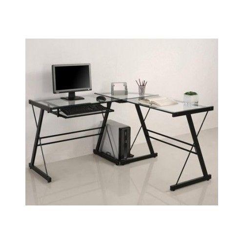 Glass Computer Desk Metal Work Station Corner Desks Lshaped Pull Out Dorm Office #Desk #Modern #home #office #dorm #furniture #forsale #new