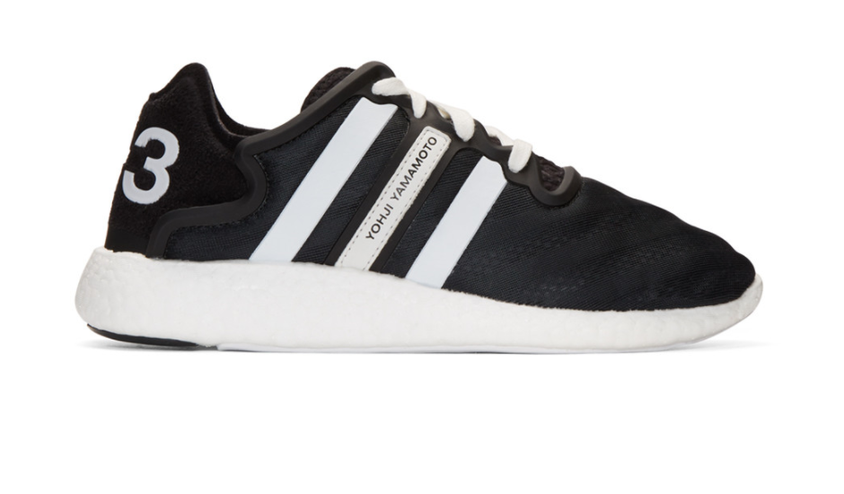 069b639ec11df Y-3 Black Yohji Run Boost Sneakers Low-top mesh sneakers in black. Lace-up  closure in white featuring rubberized Eye-rows. Logo embossed at vented  tongue.