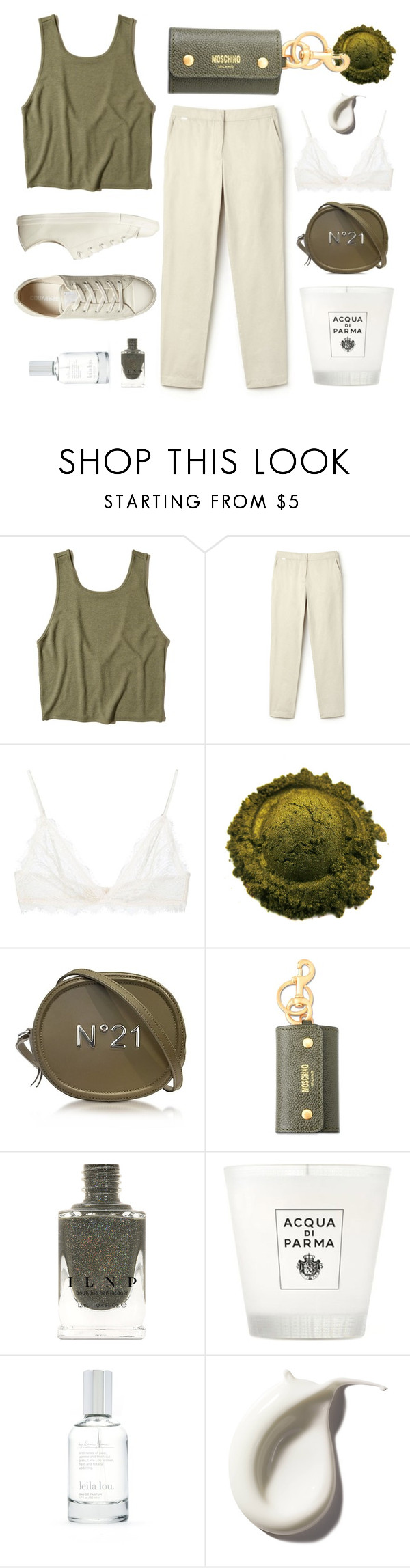 """""""o l i v e"""" by braincontortion ❤ liked on Polyvore featuring Hollister Co., Lacoste, Anine Bing, N°21, Moschino, Acqua di Parma, Splendid and Converse"""