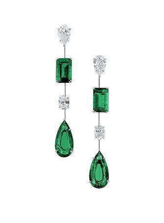 Graff Emerald. Diamond and Platinum Earrings.