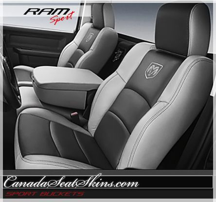2009 2015 Dodge Ram Sport Bucket Leather Interior Package Black With Grey And Ram Logos Canadaseatskins Com Lea 2015 Dodge Ram Dodge Ram Sport Dodge Ram