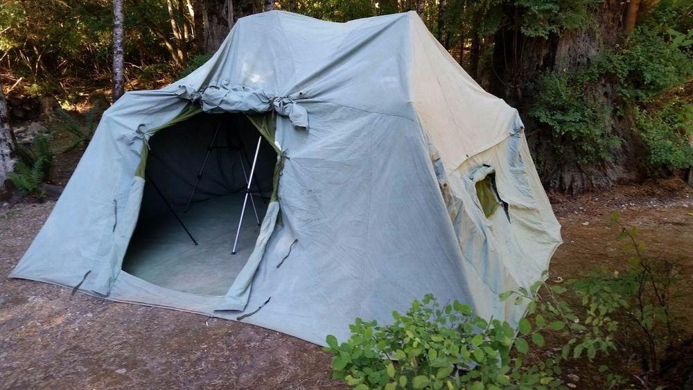 HIRSCH WEIS (USA) Vintage 50u0027s Canvas Cabin C&ing Tent No Poles 12u0027 x 10u0027 x 7u0027 & HIRSCH WEIS (USA) Vintage 50u0027s Canvas Cabin Camping Tent No Poles ...