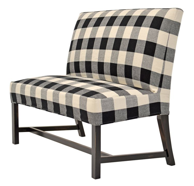 Exposed Leg Dining Bench In A Black And White Buffalo Check (COM)