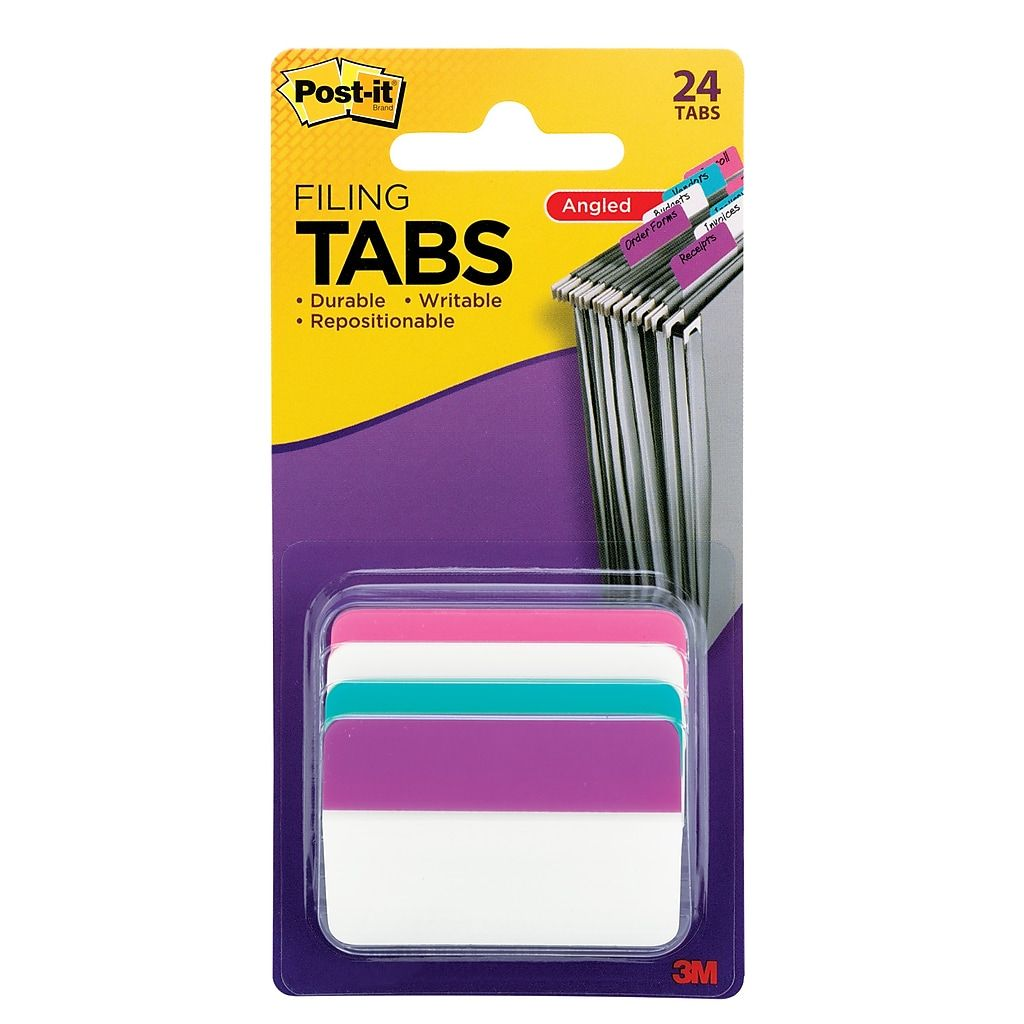 Post It 2 Hanging File Folder Tab Assorted 24 Pack