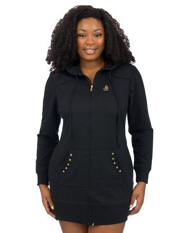 rocawear plus size star gazer studded zip up hoodie dress long
