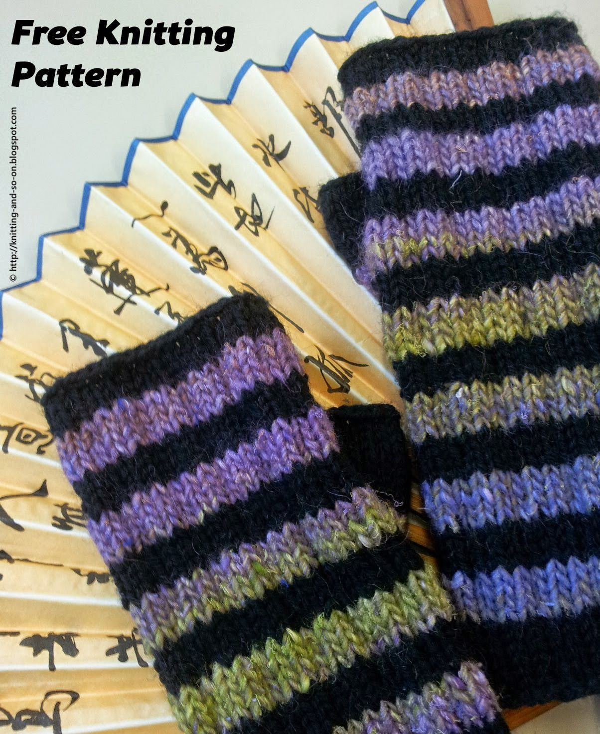 Free knitting pattern striped fingerless gloves knitting free knitting pattern striped fingerless gloves bankloansurffo Image collections