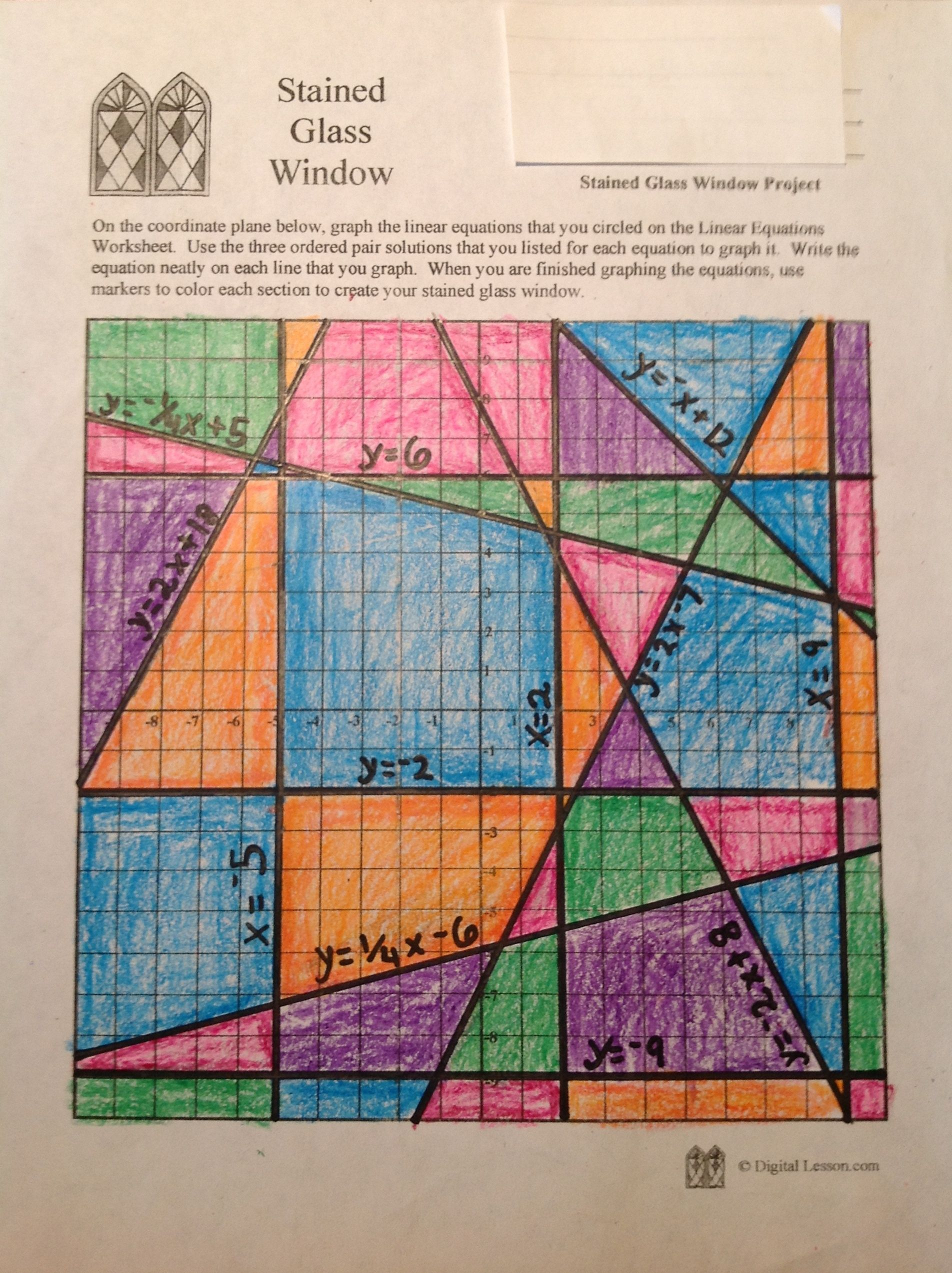Stained Glass Math Activity | Linear Equations Project | Algebra and ...