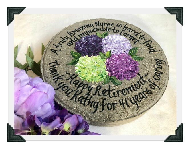 Retirement Gift, Years of Service, Hand Painted Garden Stone, Retirement Gifts, Teacher Gift, Gift from Student, Gift for Teacher, Ideas #employeeappreciationideas