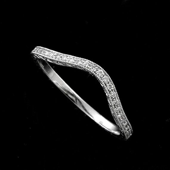 Curved Diamond Band Hand Engraved Wedding Ring Contour Etsy Engraved Wedding Rings Stackable Gold Wedding Rings Hand Engraved Wedding Ring