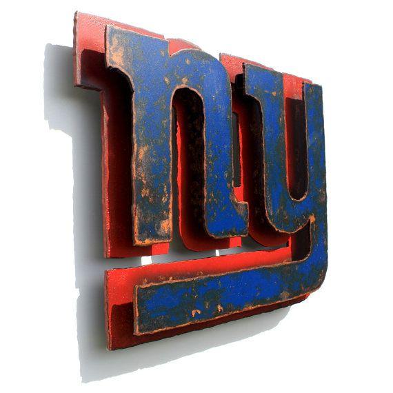 New york giants 3d wall art metal emblem logo nfl 13 75 wide blue red rust patina on etsy 89 00