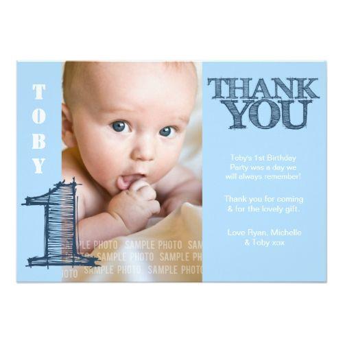 Baby Boy Blue 1st Birthday Thank You Photo Card Zazzle Com Birthday Thank You Cards Thank You Photos Print Thank You Cards