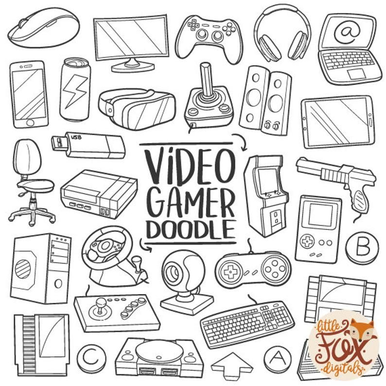 Gamer Doodle Vector Icons Computer Game Doodle Icons Clipart Set Hand Drawn Line Art Design Set Artwork Clip Art Coloring Sketch Line Art Design Doodle Icon Doodles