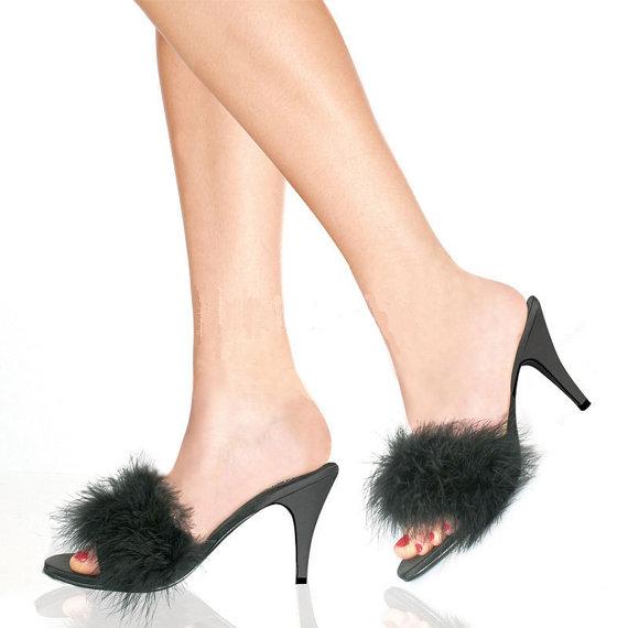 e248d6abfa69 Vintage FREDERICKS of HOLLYWOOD Marabou Feather Boudoir Slippers Black  Satin Mules Bombshell Burlesq