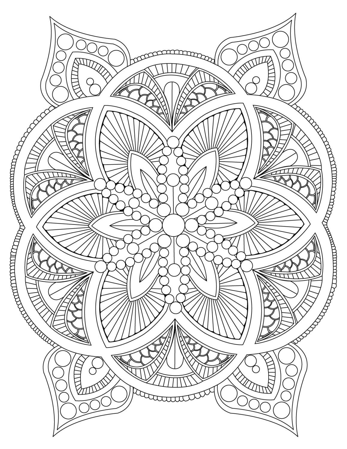 Abstract Mandala Coloring Page for Adults Digital Download
