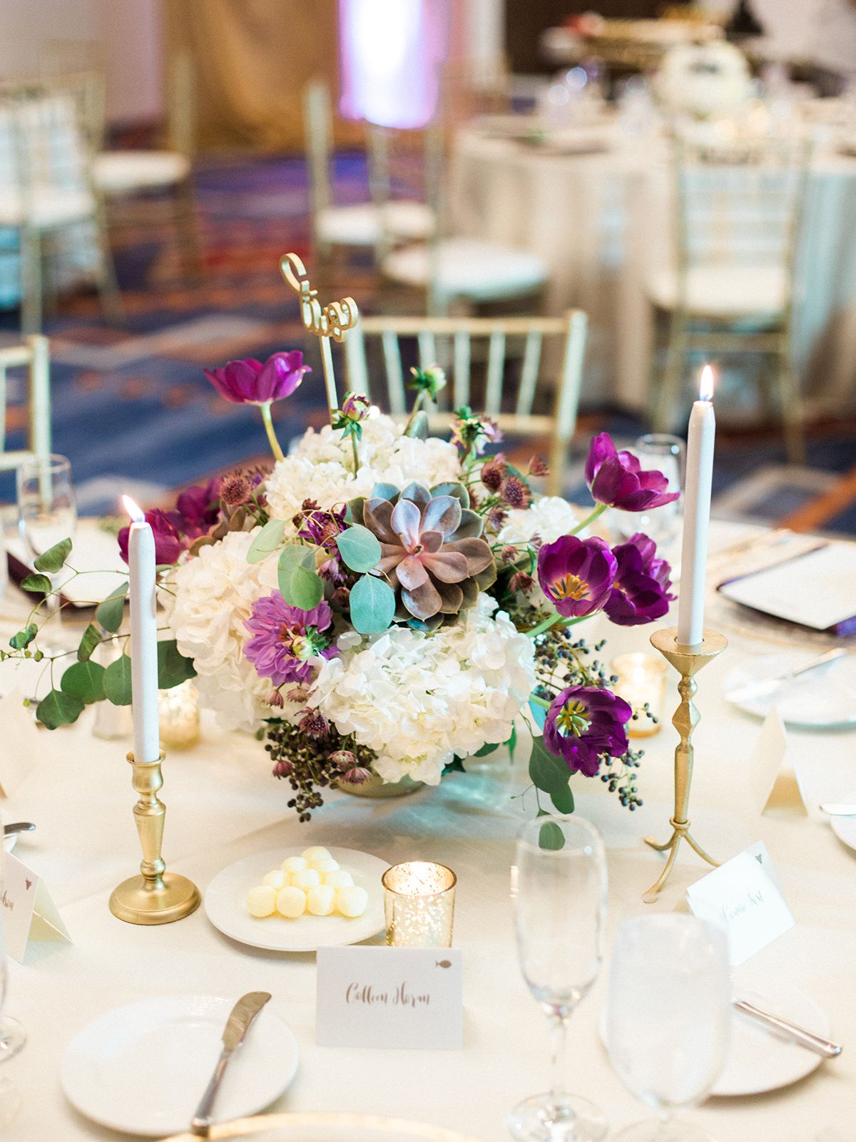 Succulent And Hydrangea Centerpiece