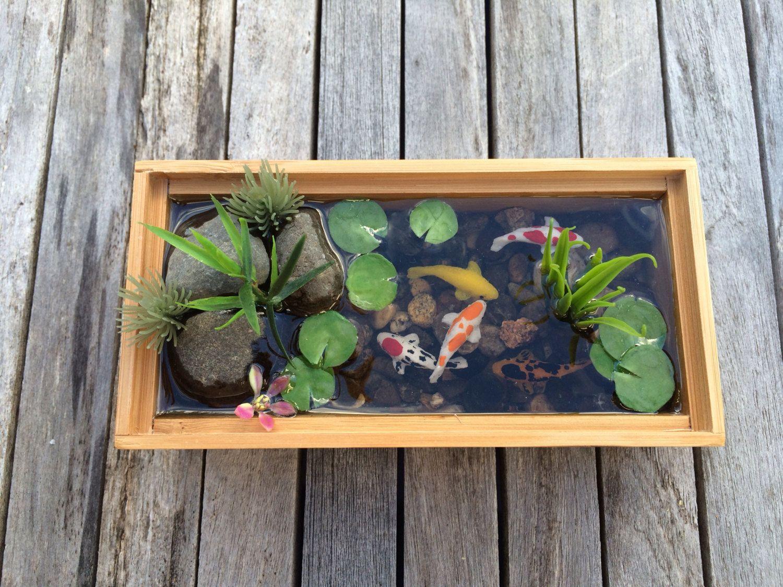 Miniature Koi Pond in Bamboo by rezinology on Etsy