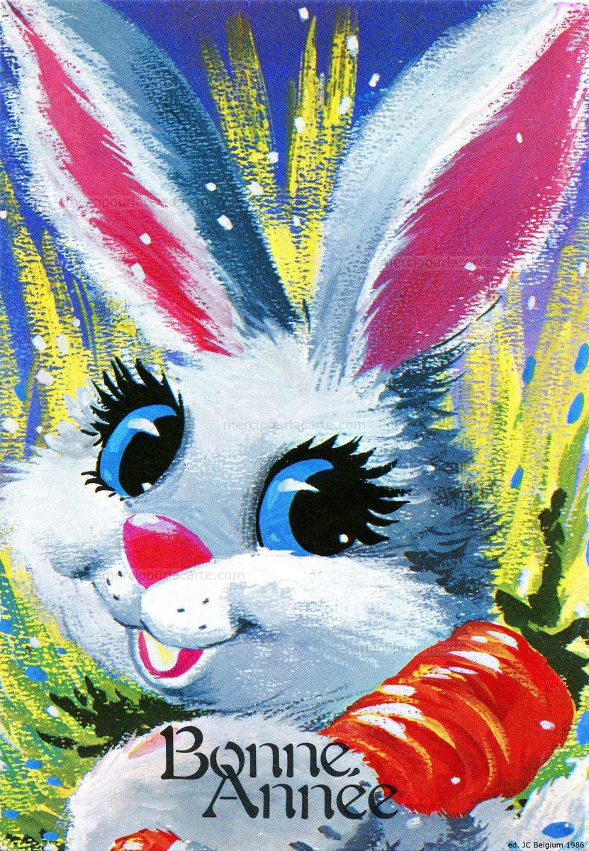 Carotte Bleue à bonne année - lapin heureux avec une carotte - 1987 - recto | bonne