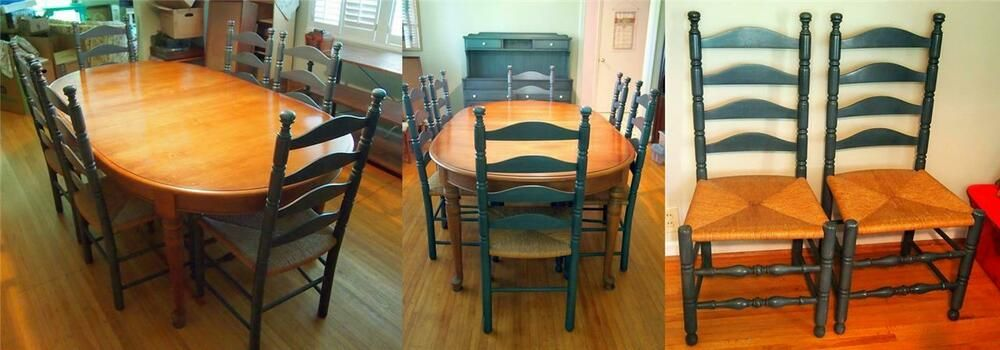 Vtg 60s Pennsylvania House Maple Dining Table 8 Ladderback Chairs