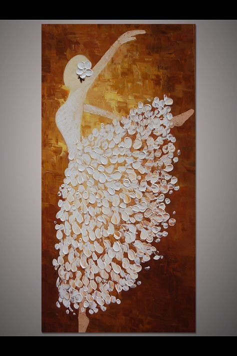 Hand-painted white brown dancing ballerina painting wall art picture living room home decor thick palette knife oil painting canvas By Lisa