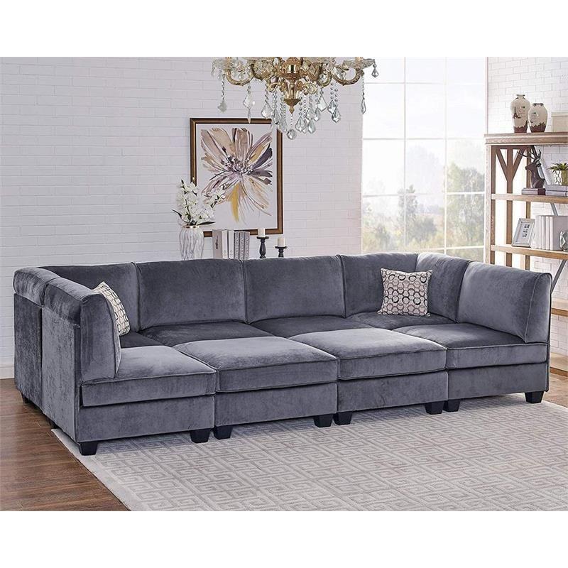 Home In 2020 Modular Sectional Sofa Velvet Sofa Set Grey