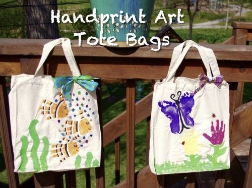 a44163573bc2 Handprint Art Tote Bags Tutorial | Kids Crafts and Art Projects ...