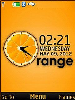 Download free Orange 3D Clock S40 Theme Mobile Theme Nokia