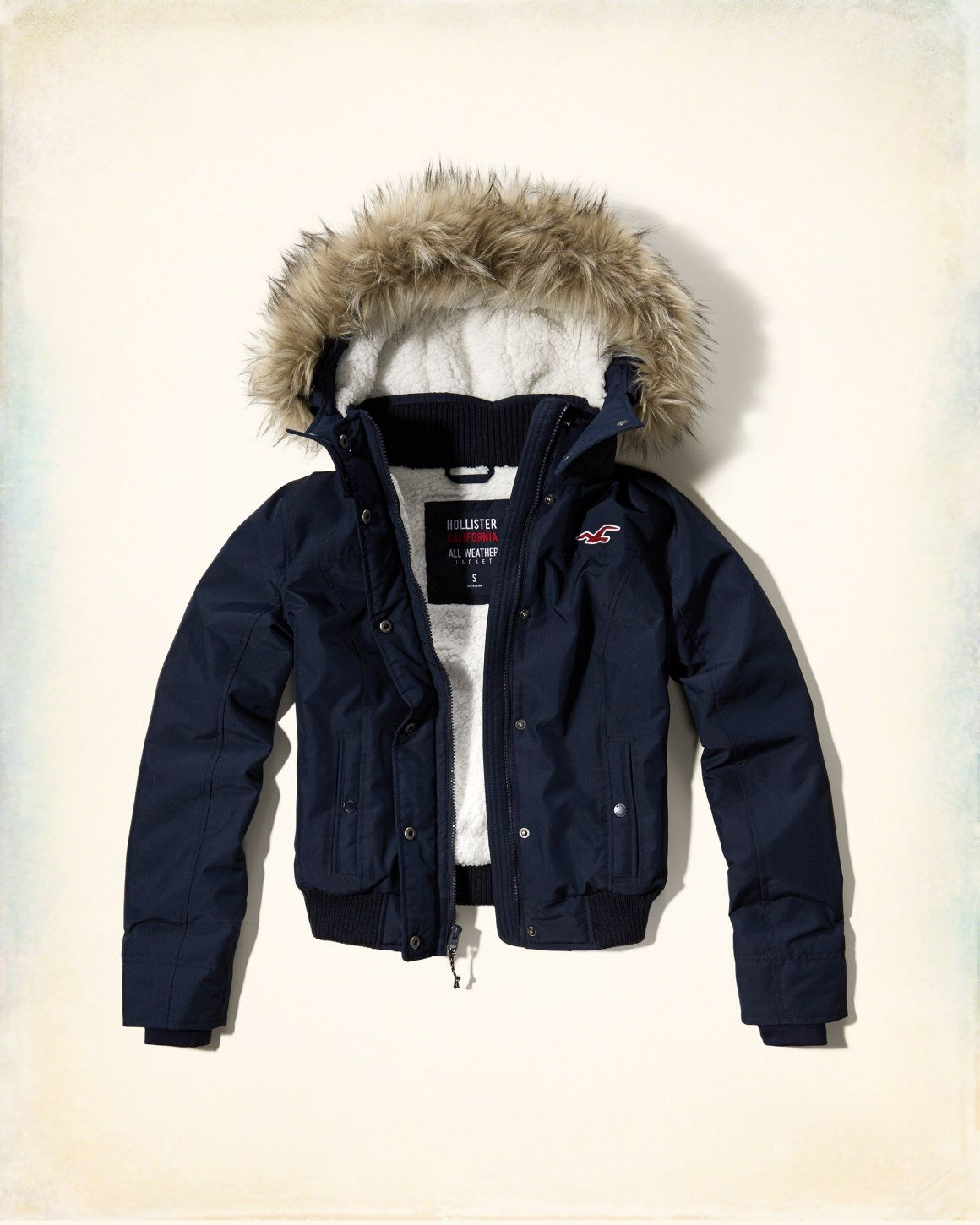 9b971867c Girls Hollister All-Weather Sherpa Lined Bomber Jacket
