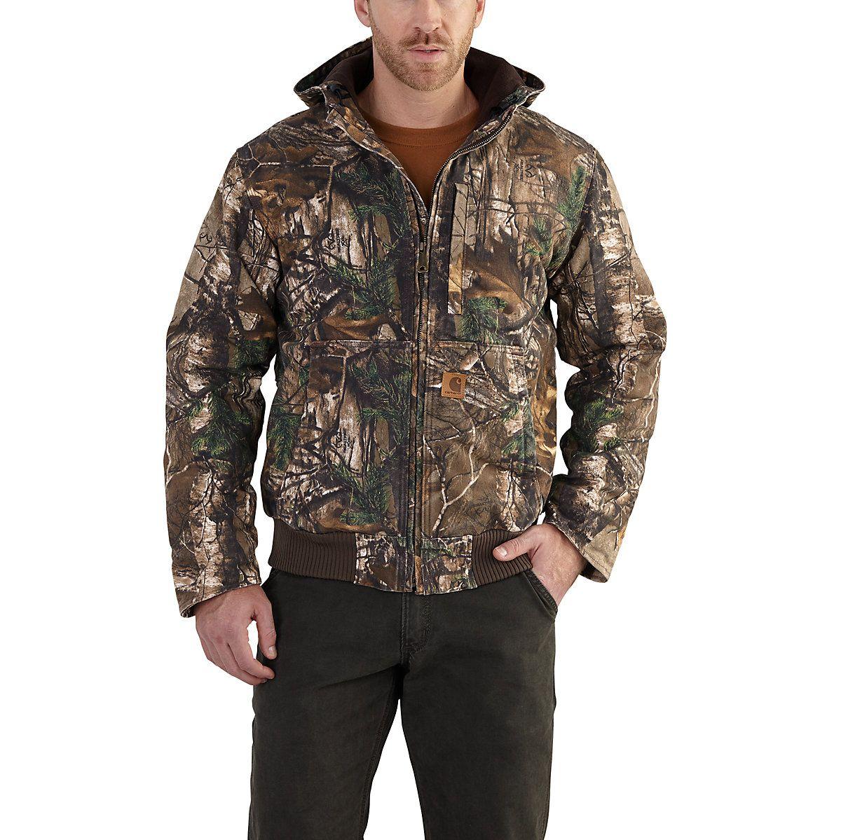 981203cfd5a17 Carhartt Camo FULLSWING Heavyweight Fleece Lined Jacket. Attached Fleece  Lined Hood with Drawstrings.