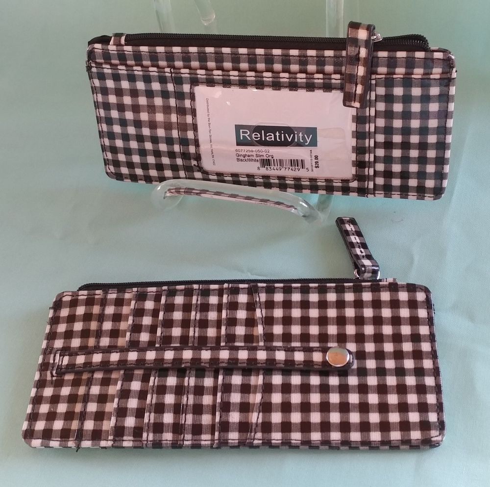 Relativity gingham slim organizer wallet with 6 card cases