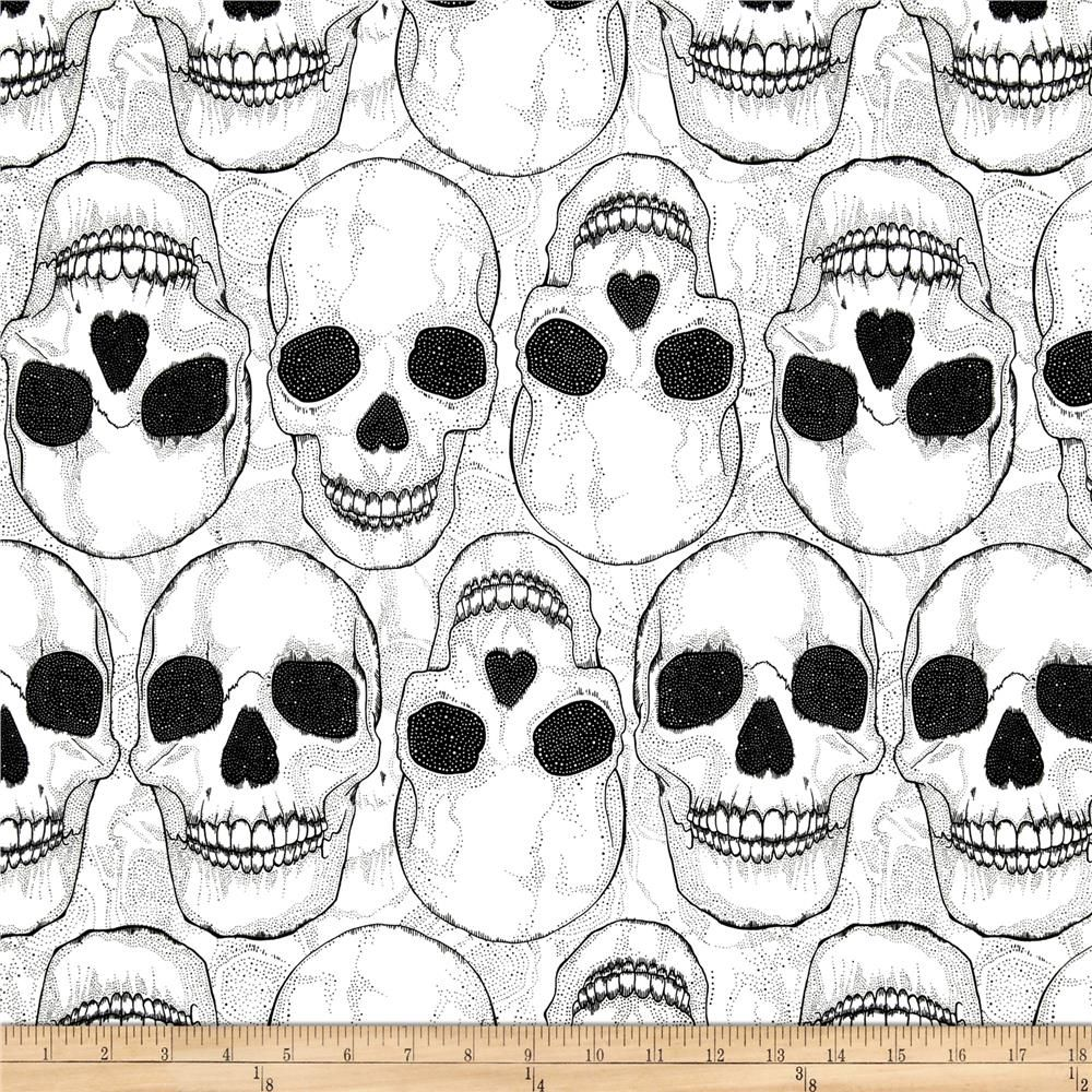 Yorik Skulls Natural/Black from @fabricdotcom  Designed by The DeLeon Group for Alexander Henry, this cotton print features a skull motif.  Perfect for quilting, apparel and home décor accents.  Colors include white and black.