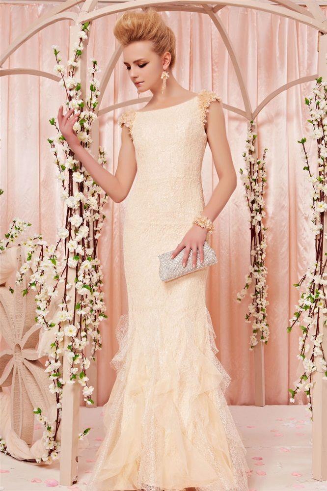 O Whole Dropship Organza Lace Beading Bateau Sleeveless Brush Train Mermaid Evening Prom Dress 198 81