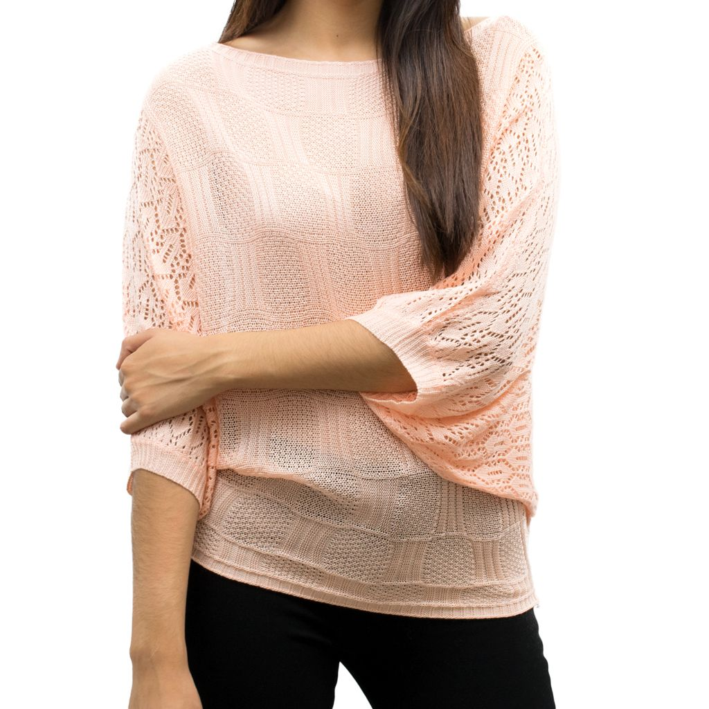 c9f51db315c Peach Mixed-Knit Crochet-Dolman Top. Must have