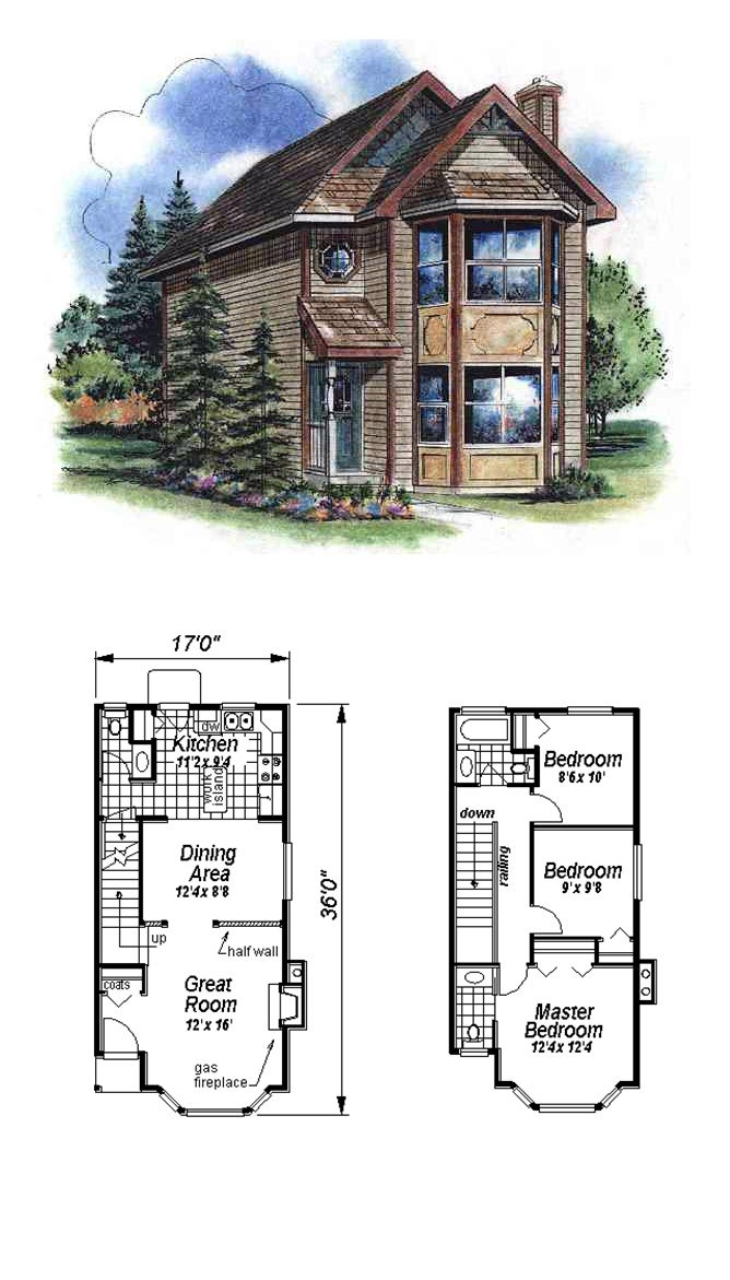 Narrow lot home plan 58522 total living area 1122 sq ft