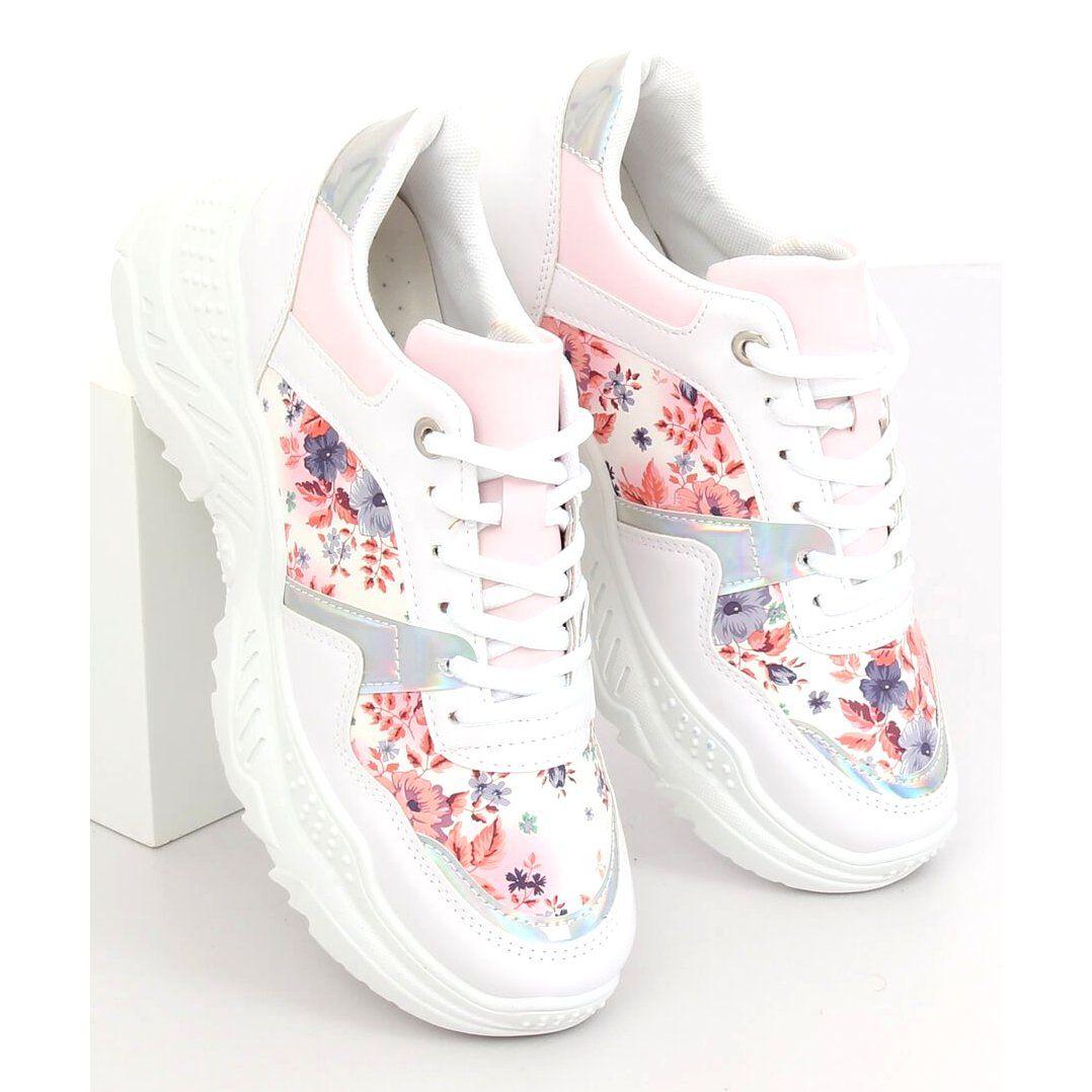 Buty Sportowe W Kwiaty Biale 3002 White Flower Red Sport Shoes Sports Footwear Sports Shoes