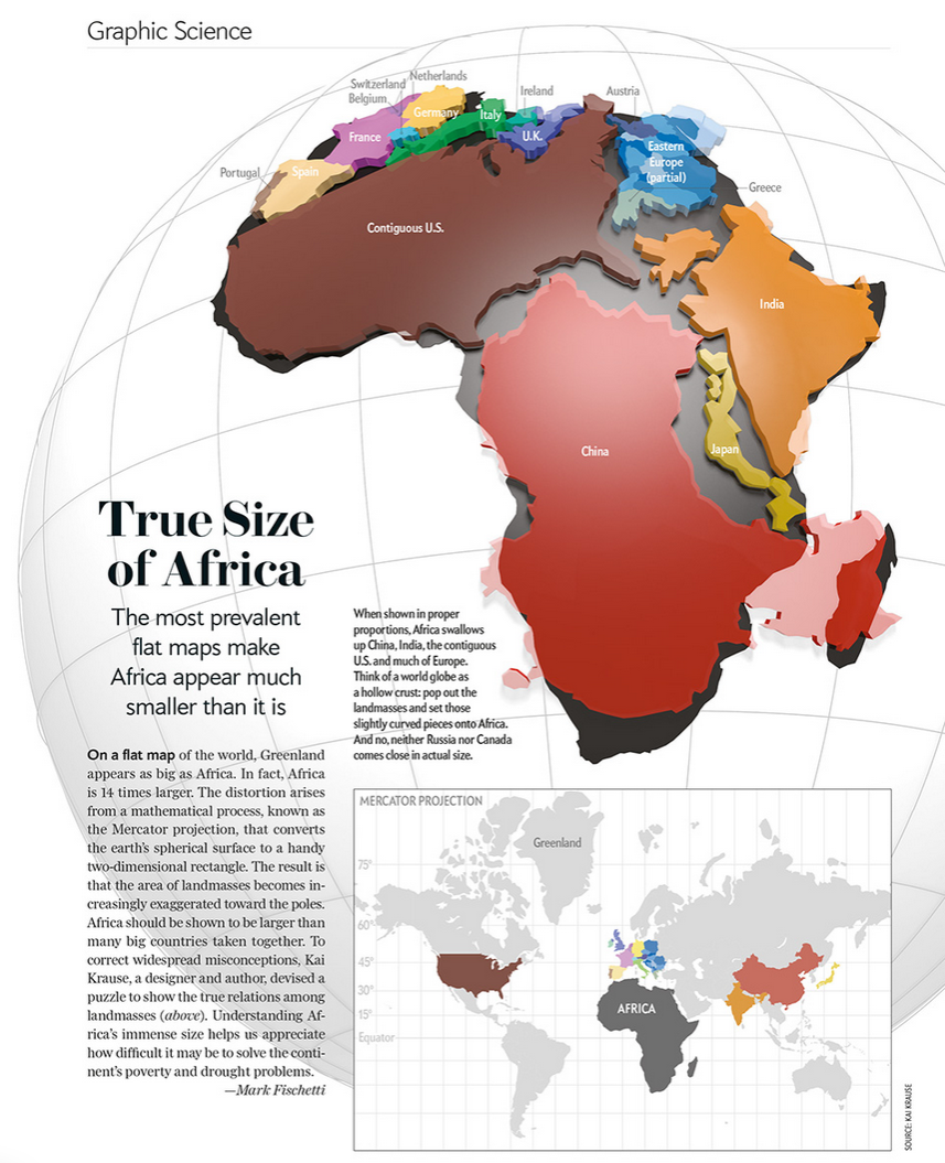 Cartonerd true size of africa now in three dee useful the most common way of representing africa on maps and globes dramatically understates the size of the continent designer kai krauses visualization of gumiabroncs Images