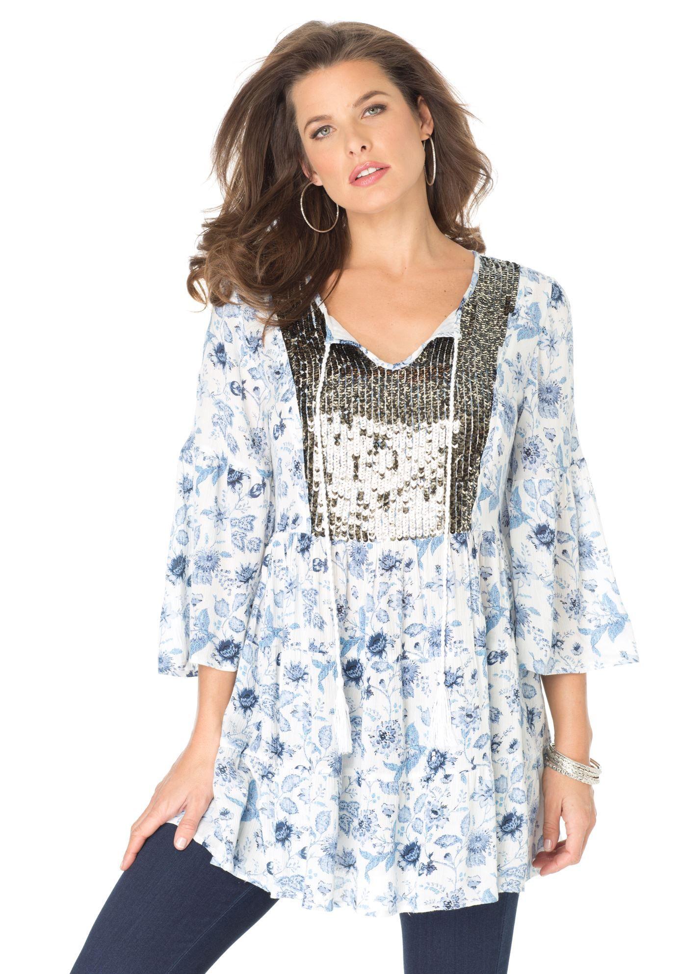 Sequin Embellished Tunic by Denim 24/7   Plus Size Tunics   Roamans
