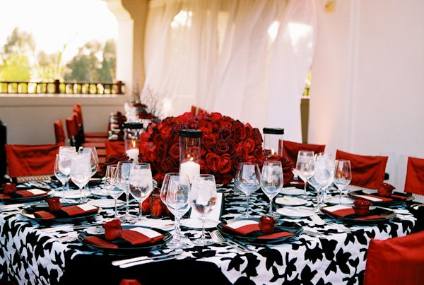 Stunning Red Silver White \u0026 Black Table Setting just too cluttered for me & black white and red wedding tabletop photo by Yvette Roman ...