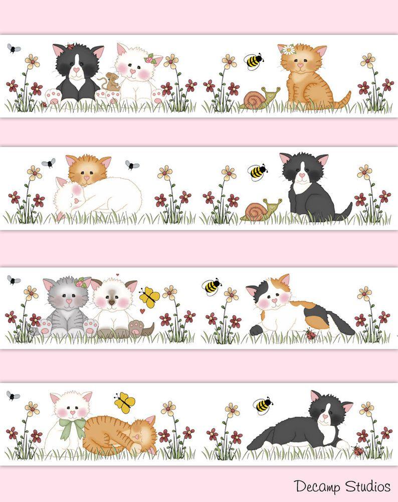 Cat Wallpaper Border Decals Girl Farm Nursery Kitten Wall Art Stickers Kids Room Decampstudios Stickers Enfant Autocollant Decor Ferme
