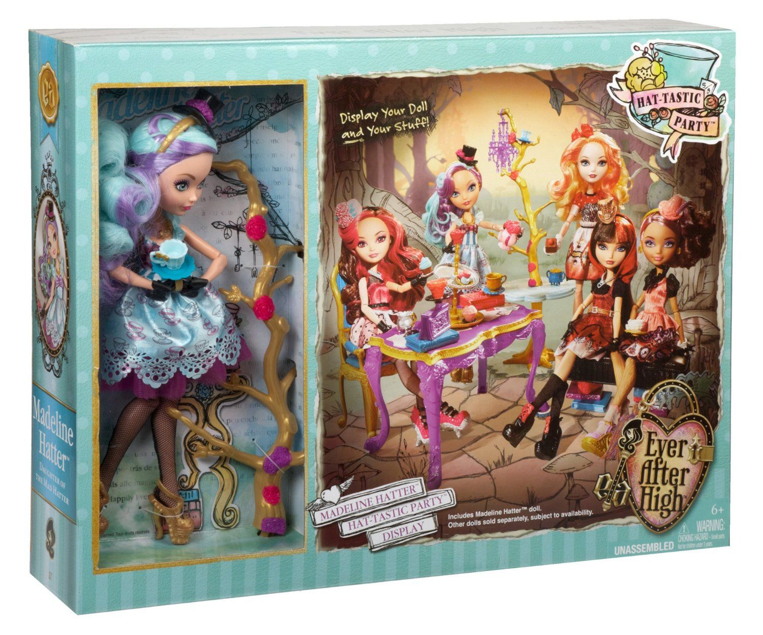 Amazon.com: Ever After High Hat-Tastic Madeline Hatter Doll and Party Display: Toys & Games