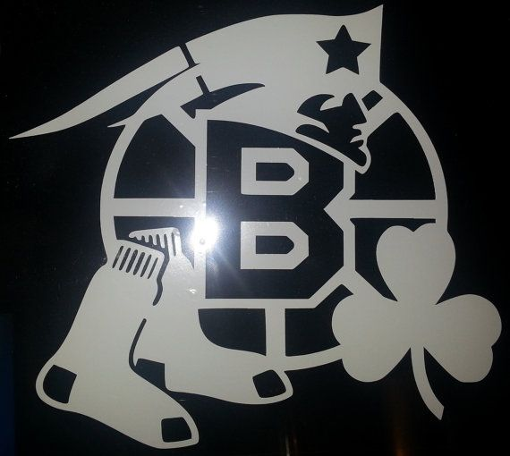 Boston sports window decal bruins patriots celtics and red sox on etsy 8 00