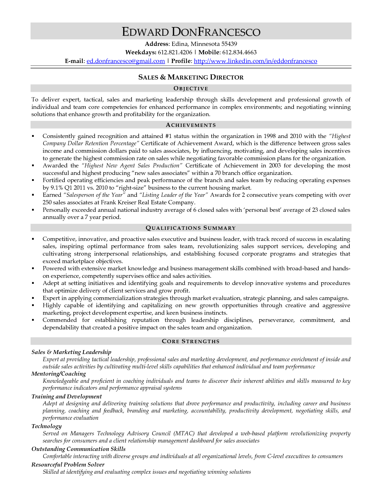 core qualifications on a resume