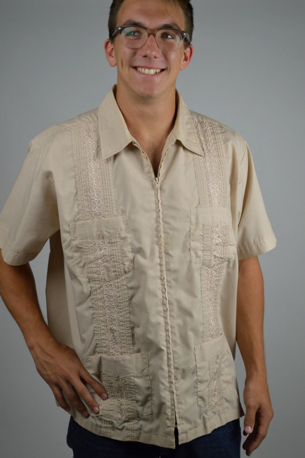 Guayabera Shirt Mens Vintage Shirt Haband Shirt Sand Shirt Beach Wedding Embroidered Shirt