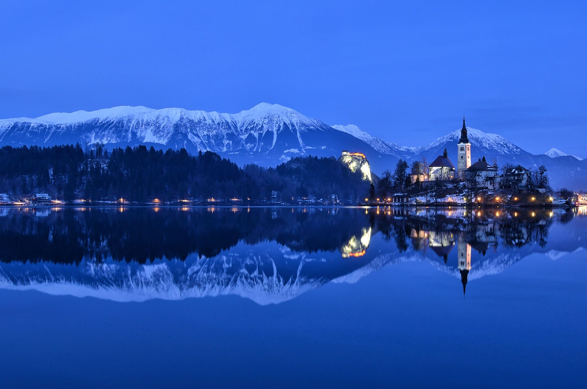 Winter Panorama Bled Lake Bled Slovenia By Csilla Zelko