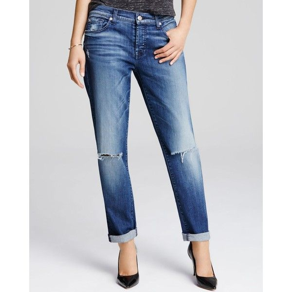 d9fa5a39af007f 7 For All Mankind Josefina Boyfriend Jeans in Lake Blue ($225) ❤ liked on  Polyvore featuring jeans, lake blue, distressed jeans, torn jeans, boyfriend  fit ...