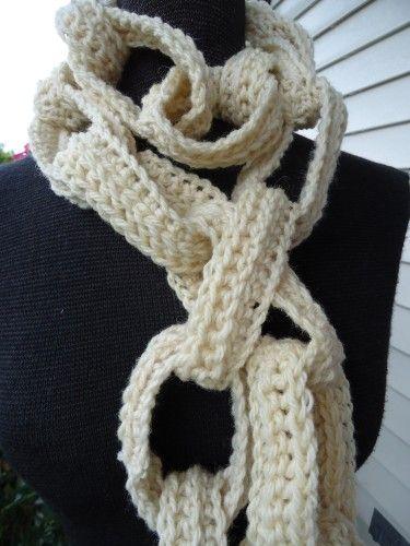 Funkycrochetscarfpatterns Cream Wool Crochet Chain Link Scarf