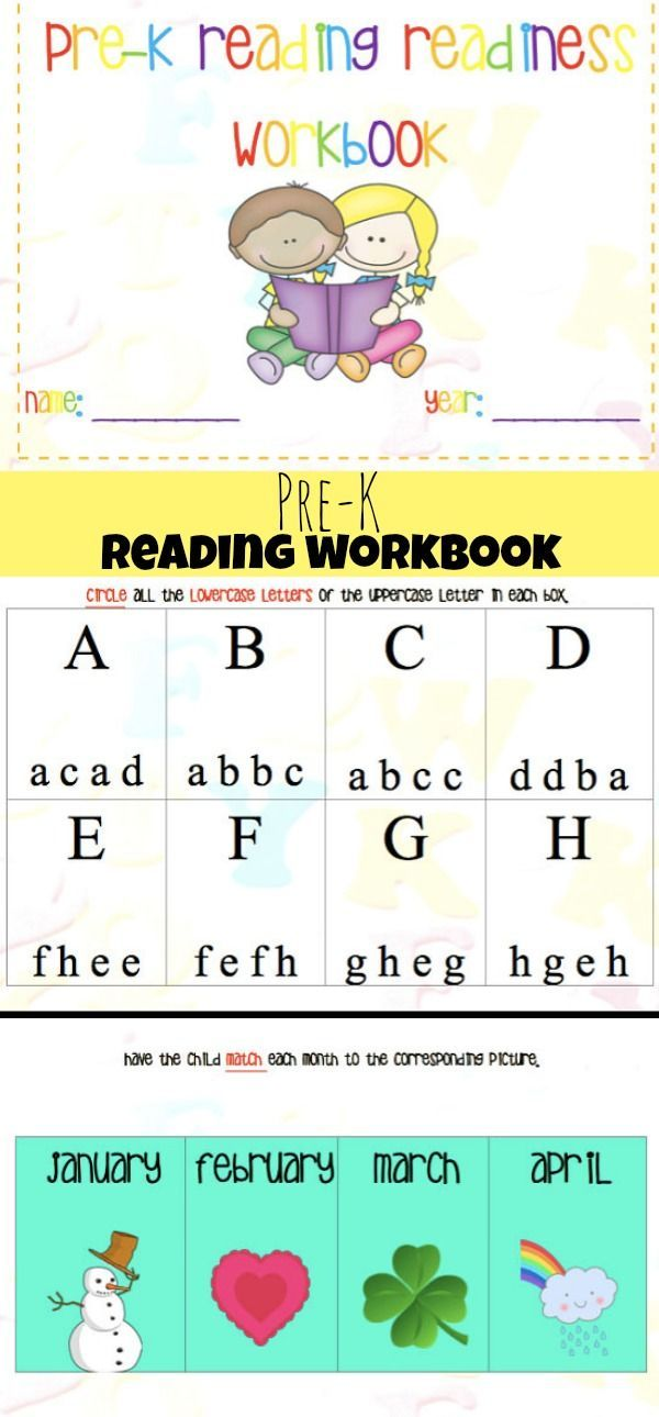 Pre K Reading Readiness Workbook Printable Preschool Preschoolers