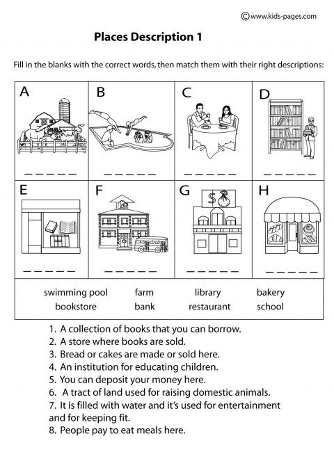 Place Descriptions 1 B&W worksheets | Places: SPL ...
