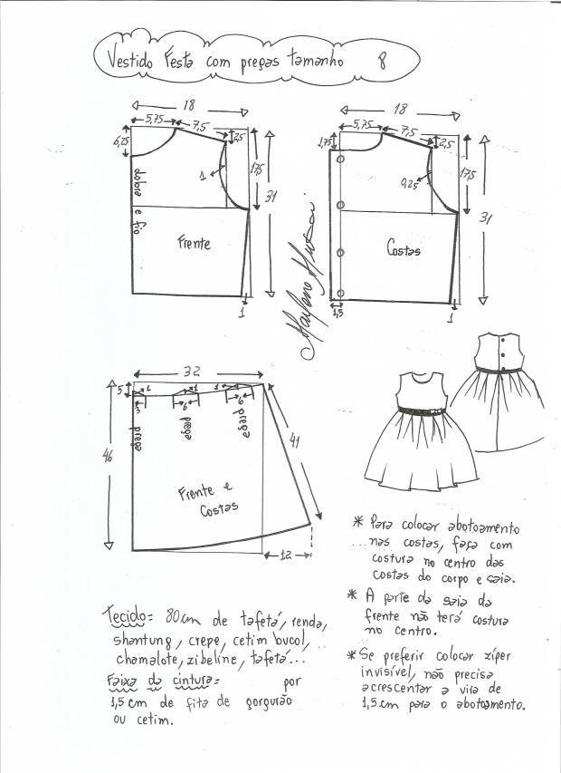 be12b067c Patrón vestido de fiesta para niña con la falda plisada   costura ...